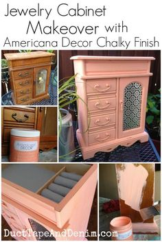 Jewelry cabinet makeover with Americana Chalky Finish paint. Great DIY idea for items you find at the thrift store.  Upcycle them to add charm to your home decor -- bedroom, bathroom, closet, etc.  | http://DuctTapeAndDenim.com