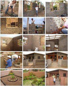 Construction reusing bottles