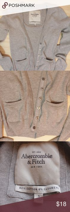 Abercrombie & Fitch Cashmere Cotton Blend Cardigan Abercrombie & Fitch Cashmere Cotton Blend Cardigan  Size: Small Good condition.  Cotton and Cashmere blend Long sleeves.  Soft material.  Perfect for Fall & Winter layering. Abercrombie & Fitch Sweaters Cardigans