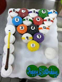 Pool ball cupcake cake