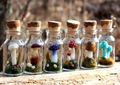 tiny wool mushrooms in glass spice jars by Lisa Jordan of lil fish studios