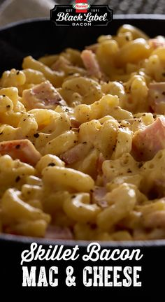 Skillet Bacon Macaroni and Cheese I Love Food, Good Food, Yummy Food, Tasty, Pasta Dishes, Food Dishes, Cooking Recipes, Healthy Recipes, Food For Thought