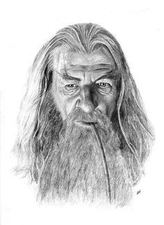 GANDALF pencil drawing por Cultscenes en Etsy