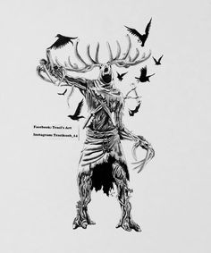 A leshen from The Witcher 3 I did in charcoal and ink