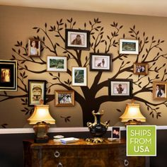 "Family Tree Wall Decal (Chestnut Brown, Standard Size : 107""w x 90""h)"