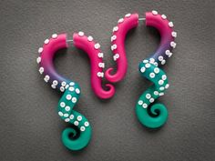 Harajuku octopus earrings, cthulhu fake gauges, anime tentacle earrings, disney fake plugs, rave out Faux Gauges, Fake Plugs, Kawaii Jewelry, Cute Jewelry, Anime Tentacle, Fake Gauge Earrings, Disney Cosplay, Anime Cosplay, Cute Clay