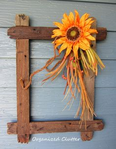 Rustic Wooden Frame with Fall Sunflower