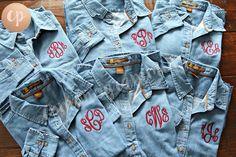 Monogram Denim Shirt | Bridesmaid Button Up | Monogrammed Shirt | Monogram Button Down | Bride Shirt | Bridal Party | Wedding Denim Shirt by CPMONOGRAMMING on Etsy https://www.etsy.com/listing/516221808/monogram-denim-shirt-bridesmaid-button