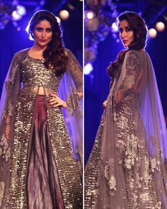 After vacationing in London with hubby Saif Ali Khan, the Bollywood beauty Kareena Kapoor sizzled the ramp at the Lakme Fashion Week. The actress walked as a showstopper for her friend and popular designer Manish Malhotra wearing a purple and silver traditional ensemble.
