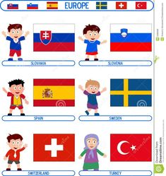 Illustration of children - 5398368 Flags Europe, Slovenia, Sweden, Clip Art, Illustration, Fictional Characters, Felicia, Costumes, World