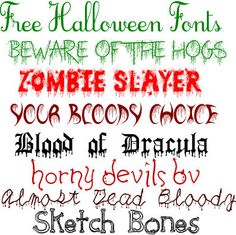 Free Halloween Fonts ~~ free fonts w/ links} Halloween Fonts, Halloween Cards, Holidays Halloween, Silhouette Fonts, Cute Fonts, Brand Fonts, Printables, Printable Worksheets, Holiday Fun
