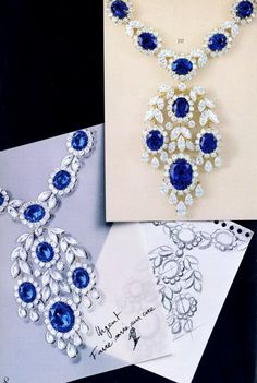 Van Cleef & Arpels catalogue from 1978. Yellow gold, sapphires and diamonds necklace Van Cleef & Arpels Archives