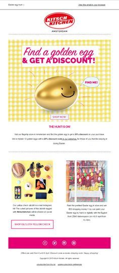 "Kitsch Kitchen - ""Find a golden egg & get a discount! 
