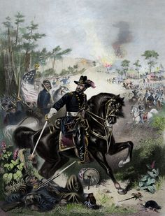 """This vintage Civil War poster features General Ulysses S. Grant, on horseback, leading Union troops into battle. It reads, """"Major General Grant"""". Own a piece of Civil War History with this digitally restored vintage poster from The War Is Hell Store. American Civil War, American History, Canvas Art, Canvas Prints, Art Prints, War Image, Illustration Techniques, Thing 1, Troops"""