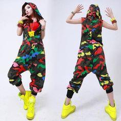 New fashion Hip Hop Dance Costume performance wear European loose leopard harem jazz jumpsuit Camouflage one piece Pants