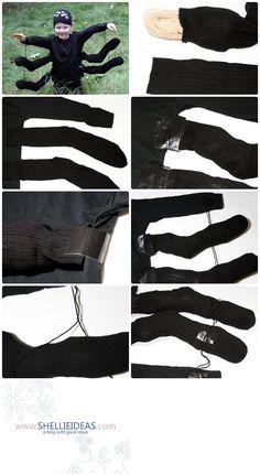 Materials: Black long-sleeved shirt Black stocking cap Black duct tape 2 pairs black socks (4 socks total) Black yarn 8 large wiggle eyes Plastic grocery bags (about 16) Scissors Glue dots
