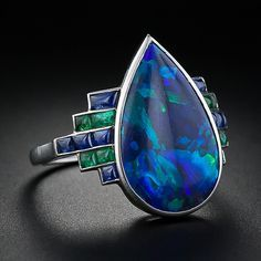 Ring.  Art Deco ring from 1920s, France. Antique black opal ring