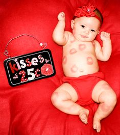 One of Landry's lipstick kisses pics for her first Valentine's Day. Taken at 4 months old.