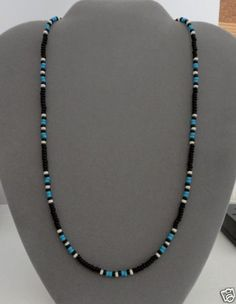 Black-Blue-Turquoise-Mens-Wom-Necklace-Native-American