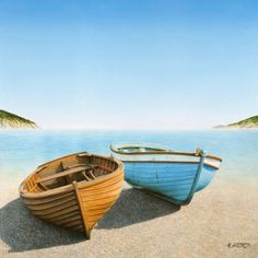 Two Boats On The Beach Art Print by Horacio Cardozo - Boote und Schiffe - Pinterest Pinturas, Boat Painting, Painting Art, Beach Paintings, Boat Art, Small Boats, Beach Scenes, Wooden Boats, Fishing Boats