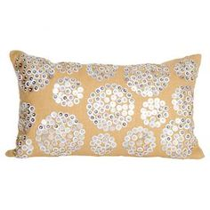 "Beaded throw pillow with a linen cover and feather fill.  Product: PillowConstruction Material: Linen and metal cover and feather fillColor: Cream and whiteFeatures: Insert includedDimensions: 12"" x 20"""