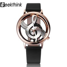 Unique Woman's Quartz Analog Hollow Musical Note watch with leather band. Use E Abuse, Skeleton Watches, Casual Watches, Music Notes, Fashion Watches, Women's Watches, Fashion Rings, Ladies Watches, Jewelry Watches