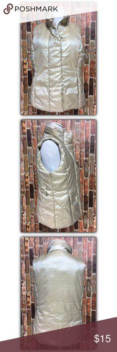 Merona semi iridescent puffer vest, sz. L Merona semi iridescent puffer vest, sz. L. Very small mark/hole on inside of collar - please see photos. Merona Jackets & Coats Vests