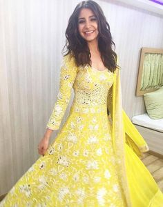 Anushka Sharma in a yellow dress. #Bollywood #Fashion #Style #Beauty #Hot #Sexy