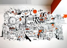 Nike London HQ redesign by Rosie Lee - 'Welcome To London' mural by Chris Martin. Image via Dezeen. Office Mural, Office Artwork, Office Walls, Office Chairs, Mural Art, Wall Murals, Wall Art, Nike London, Office Wall Graphics