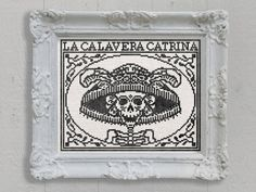 PDF NEW La Calavera Catrina Day of the Dead Halloween cross stitch pattern by Dark Crosses at thecottageneedle.com hoop wall art embroidery by thecottageneedle
