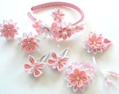 Flores de tela Kanzashi. Set de 6 piezas. Rosa rojo por JuLVa
