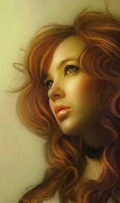 """Girl Face 2"" - Igor Grushko, photo manipulation {contemporary figurative photographer beautiful female head woman portrait digital painting} vayne17.deviantart.com"