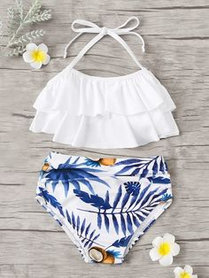 Shop Toddler Girls Tiered Layer Top With Random Tropical Bikini online. SHEIN offers Toddler Girls Tiered Layer Top With Random Tropical Bikini & more to fit your fashionable needs. Bathing Suits For Teens, Summer Bathing Suits, Swimsuits For Teens, Best Swimsuits, Cute Bathing Suits, Two Piece Swimsuits, Women Swimsuits, Cute Casual Outfits, Summer Outfits