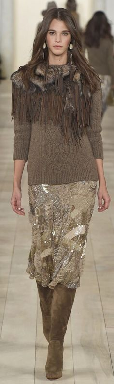 Ralph Lauren ~ Fringe + Sequins w Neutrals,Awesome suede boots Fall2015