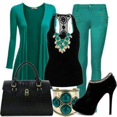 Ocean Green & Black Smart Casual Outfit ▶suggested by ~Sophistic Flair~