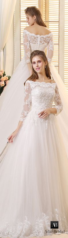 Gorgeous Tulle Off-the-Shoulder Neckline A-line Wedding Dresses with Beaded Lace Appliques