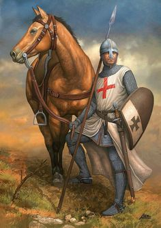 Discover Knight Templar Warrior T-Shirt, a custom product made just for you by Teespring. - Beautiful and quality Knight Templar. Medieval Knight, Medieval Armor, Medieval Fantasy, Armadura Medieval, Military Art, Military History, Military Uniforms, Knights Templar Symbols, Knight Tattoo
