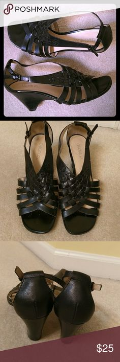 Leather sandals Very comfortable. 3 inch wedge heels leather uppers. Super cute! Chadwicks Shoes Sandals