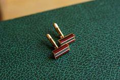 Vintage French stripe cufflinks in red