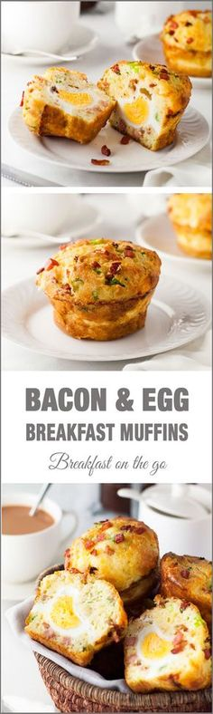 """Bacon & Egg Breakfast Muffin - with an egg baked IN the muffin, this is a fabulous """"grab and go"""" breakfast!!"""