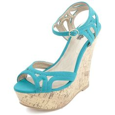 Charlotte Russe Strappy Cut-Out Peep Toe Wedge Sandals ($8.99) ❤ liked on Polyvore featuring shoes, sandals, wedges, heels, teal, peep toe sandals, wedge heel shoes, sexy strappy sandals, teal wedge sandals and teal sandals