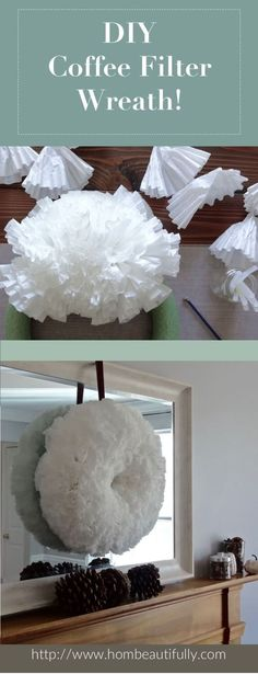 Want to make a DIY coffee filter wreath? This easy and fun tutorial shows you tips and techniques for creating a wreath on a budget! Decorate your entryway with farmhouse style affordably. Also perfect for above the mantle or a living room!