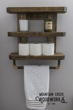 Wooden Bathroom Shelf Rustic Bathroom Shelf by MtnCreekWoodworks