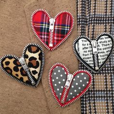 zipper hearts is there A sheet music adaptImage of zip heart broochNo copyright infringements intended. luv the fabric fills .Zipper and needle felt how to - photos only -- Cut off zipper tape quite near zipper teeth, then heat seal with flame. Zipper Crafts, Denim Crafts, Felt Crafts, Fabric Crafts, Sewing Crafts, Diy And Crafts, Sewing Projects, Arts And Crafts, Zipper Jewelry