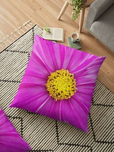 'Winter Cosmos Flower in Pink Floor Pillow by ellenhenry Floral Cushions, Carnations, Hibiscus, Floor Pillows, Cosmos, Stencil, Daisy, Pillow Covers, Sweet Home