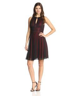 Jessica Howard Women's Petite Shirred Beaded Keyhole Dress, Black/Red, 8 Petite