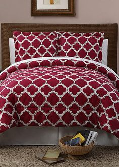 Red Galaxy Printed Comforter Set...I want this in navy and white