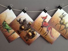 4x6 Small Art Print Steampunk Fawn Baby Deer by digikatie on Etsy