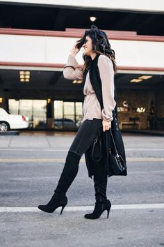 Forever21 long sleeve chiffon top, American Eagle skinny dark jeans, VIPme long black vest, and Over the knee high boots.