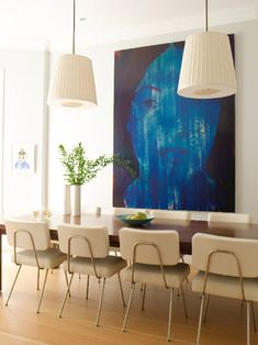 Amie Weitzman's NYC Townhouse. Dining room with table by CA Atelier, chairs by Modernica and artwork by Shelley Adler. Modern House Design, Modern Interior Design, Home Design, Design Ideas, Dining Room Design, Dining Rooms, Design Room, Dining Chairs, Dining Table